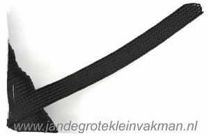 Veterband, synthetisch, 12mm breed, per meter, zwart
