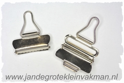 Tuinbroek (salopet) sluitingen, 40mm  breed, 2 stuks, zilver