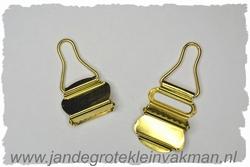 Tuinbroek (salopet) sluitingen, 25mm  breed, 2 stuks, goud