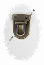 Koffersluiting, metaal, bronskleurig, 35x23mm