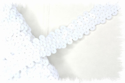 Band (pailletten) elastisch, ca. 20mm breed, wit
