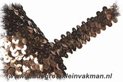 Band (pailletten) elastisch, ca. 20mm breed, bruin