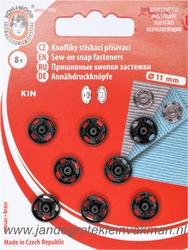 Naaidrukkers zwart 11mm, 8 stuks