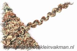 Elastisch zigzagband, ca 15mm breed, bruin gemêleerd
