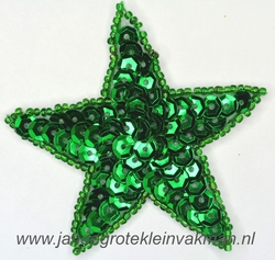 Applicatie ster met pailleten, opnaaibaar, groen. 75mm