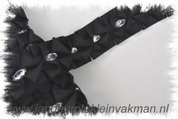Sier- of afwerkband, 40mm breed, per meter, zwart