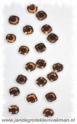 Glittersteentjes transparant met facet, 5mm, 20st, bruin