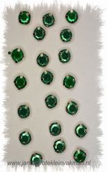 Glittersteentjes transparant met facet, 5mm, 20st, dgroen