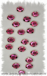 Glittersteentjes transparant met facet, 5mm, 20st, fuchsia
