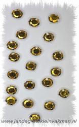 Glittersteentjes transparant met facet, 5mm, 20st, geel