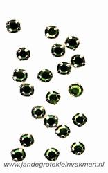 Glittersteentjes transparant met facet, 5mm, 20st, groen