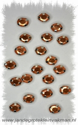 Glittersteentjes transparant met facet, 5mm, 20st, oranje