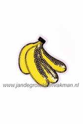 Applicatie met pailleten, opnaai- opstrijkbaar, banaan