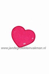 Applicatie met pailleten, opnaai- opstrijkbaar, hart roze