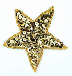 Applicatie ster met pailleten, opnaaibaar, goud, 75mm