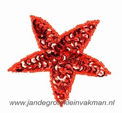 Applicatie ster met pailleten, opnaaibaar, rood, 75mm