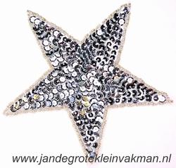 Applicatie ster met pailleten, opnaaibaar, zilver, 135mm