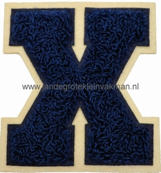 Baseball applicatie, letter X, blauw