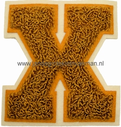 Baseball applicatie, letter X, bruin