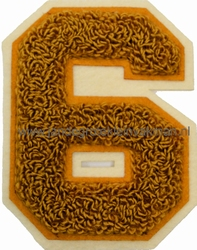 Baseball applicatie, cijfer 6, bruin
