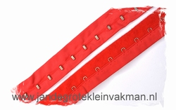 Haakjesband, rood, 30mm breed, 54 haakjes/mtr