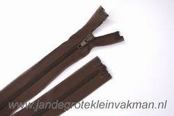 Deelbare rits, fijne tand, 35cm, bruin