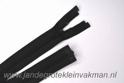 Deelbare rits, fijne tand, 55cm, zwart