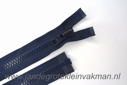 Deelbare rits, extra grove bloktand, 60cm, marine