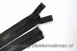 Deelbare rits, extra grove bloktand, 65cm, zwart