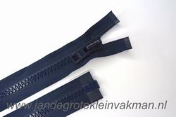 Deelbare rits, extra grove bloktand, 80cm, marine