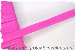 Pipingband, elastisch, 5mm breed, hardroze, per meter