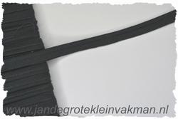 Pipingband, elastisch, 5mm breed, zwart, per meter