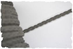 Gevlochten veterkoord, 5mm breed, grijs, per meter