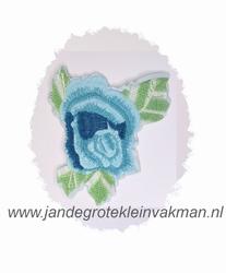 Fraaie bloemapplicatie, 120mm x 95mm, blauw bloemblad