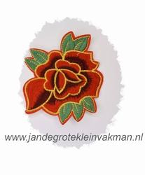 Fraaie bloemapplicatie, 120mm x 95mm, met rood bloemblad