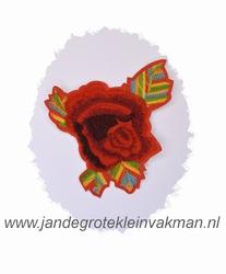 Fraaie bloemapplicatie, 120mm x 95mm, met regenboogblad
