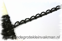 NIET elastisch lusjesband, 15mm breed, lusje 15mm, zwart