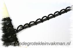 NIET elastisch lusjesband, 15mm breed, lusje 15mm, zwart