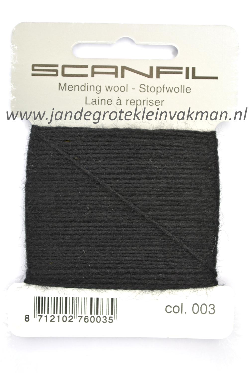 Stopwol, per kaartje van 15 meter, zwart