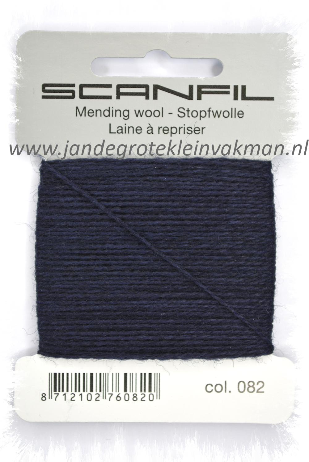 Stopwol, per kaartje van 15 meter, marineblauw