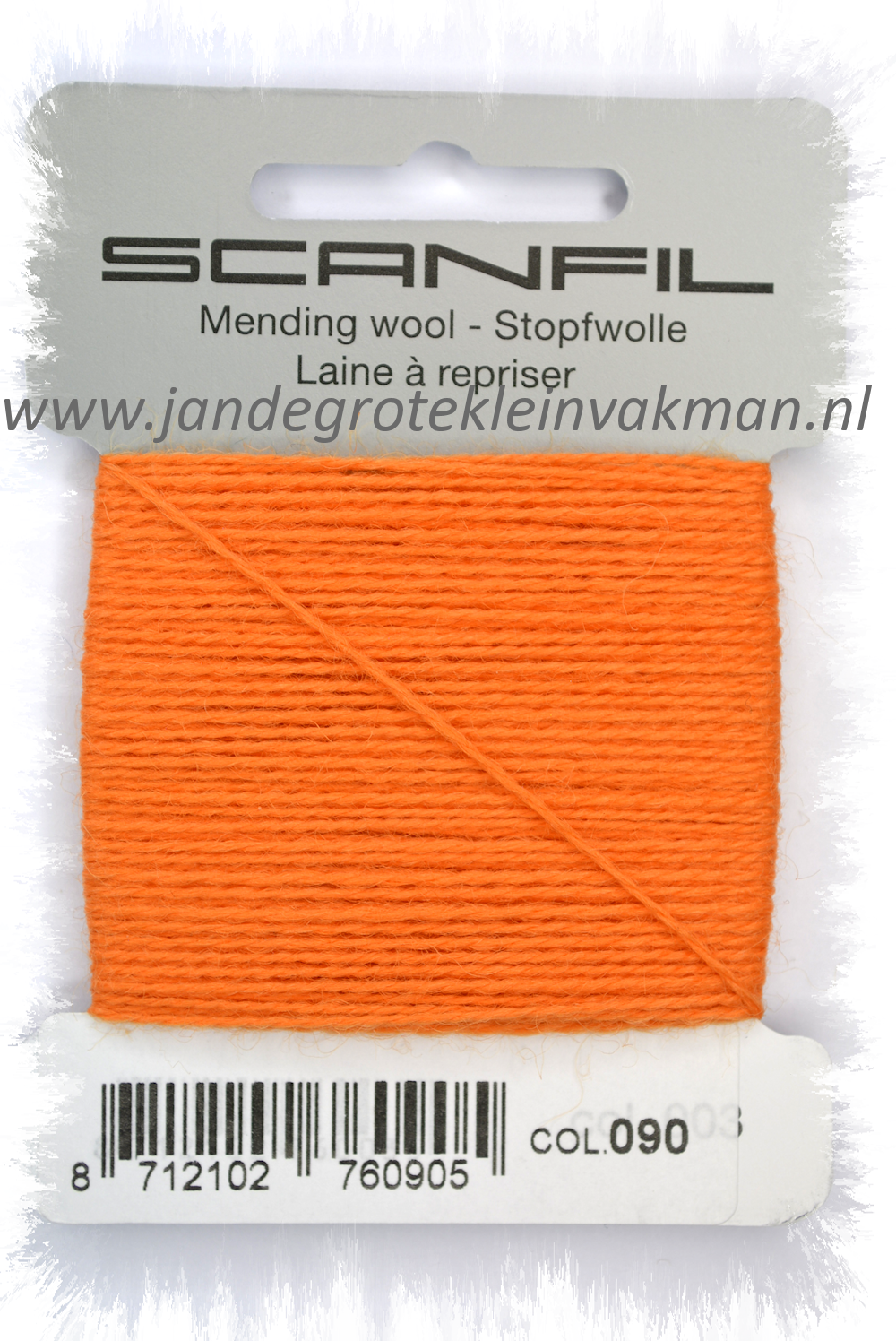 Stopwol, per kaartje van 15 meter, oranje