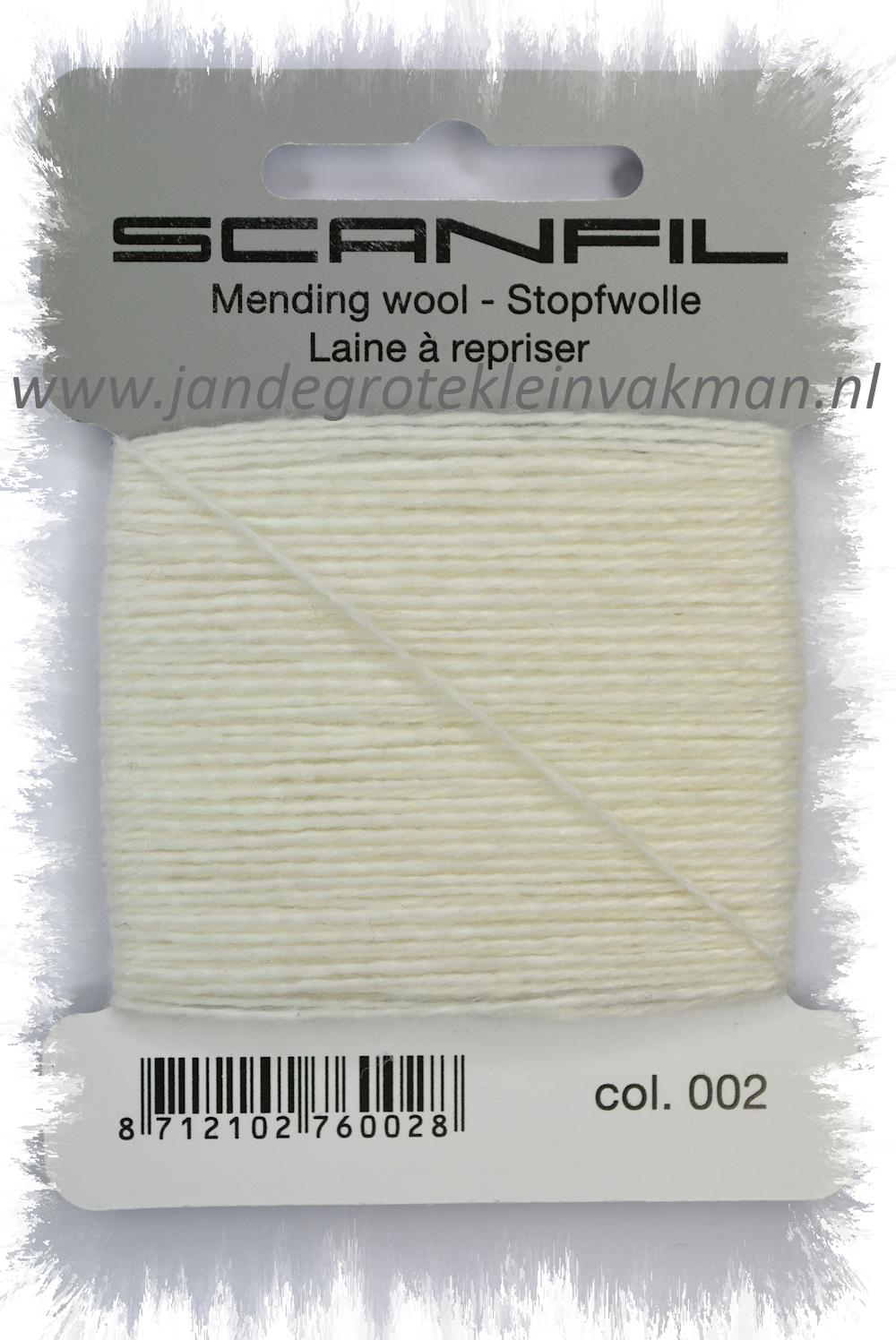 Stopwol, per kaartje van 15 meter, wit