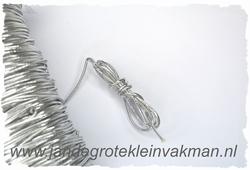 Elastish koord, 2mm dik, zilver, prijs per meter