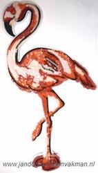 Applicatie met pailleten, opnaabaar, flamingo