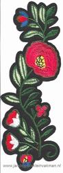 Opnaaibare bloemen applicatie, ca. 160x60mm