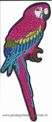 Opnaaibare en opstrijkbare applicatie, papagaai, ca 150x70mm