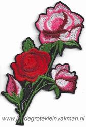 Opnaaibare bloemen applicatie, ca. 130x70mm