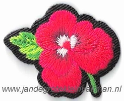 Opstrijkbare en/of opnaaibare bloemen applicatie, ca.40x30mm