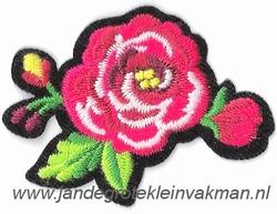 Opstrijkbare en/of opnaaibare bloemen applicatie, ca.55x40mm