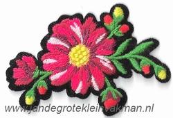 Opstrijkbare en/of opnaaibare bloemen applicatie, ca.70x45mm